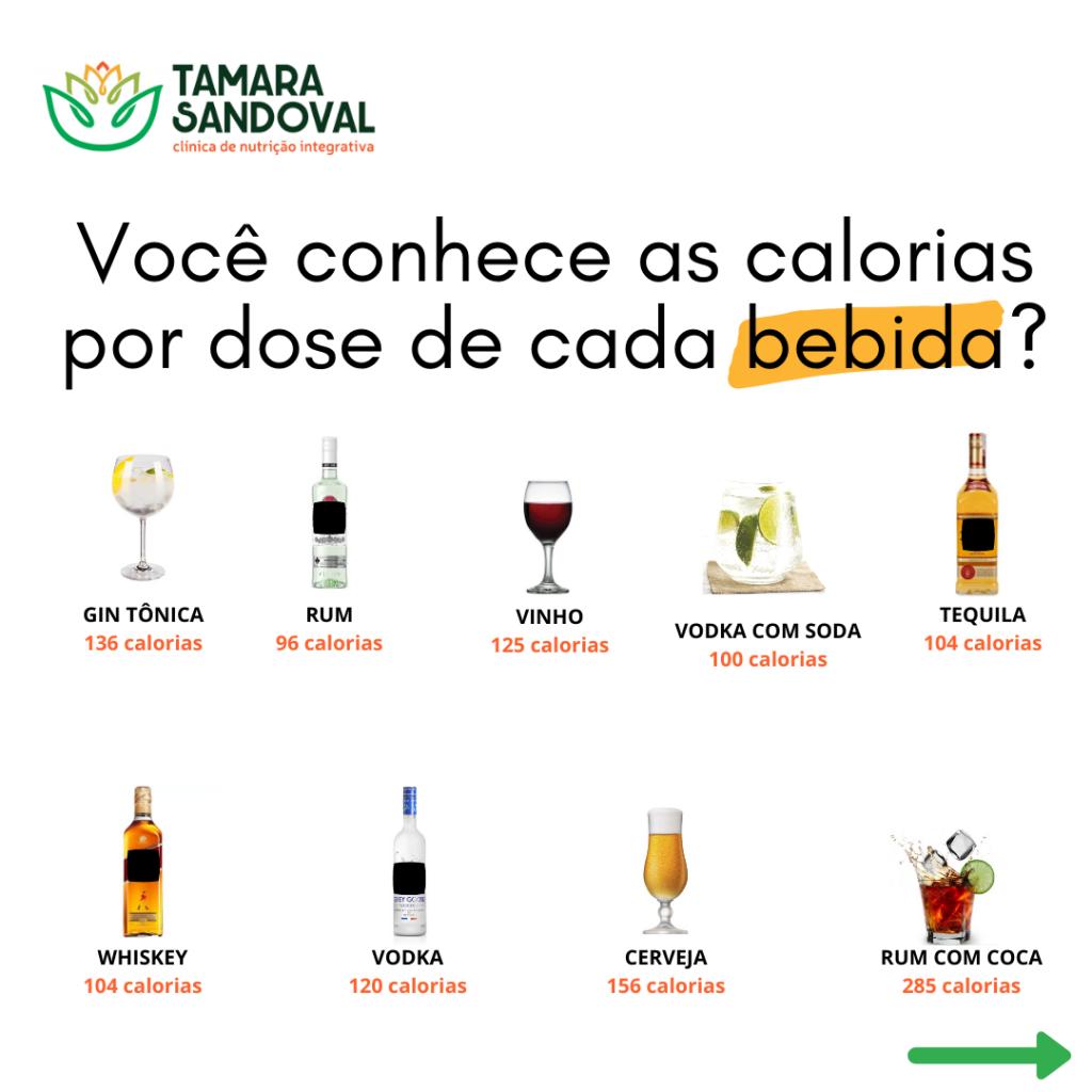 Você conhece as calorias por dose de cada bebida? 01
